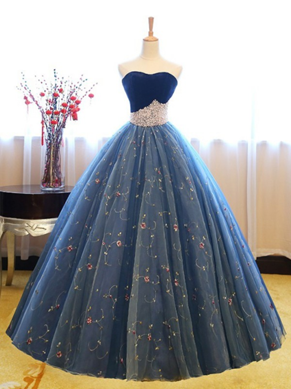 Ball Gown Sweetheart Floor-Length Beading Net Dresses
