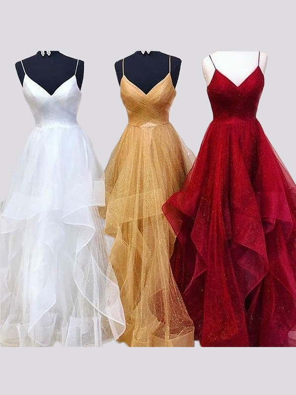 A-Line/Princess Spaghetti Straps Floor-Length Ruffles Organza Dresses