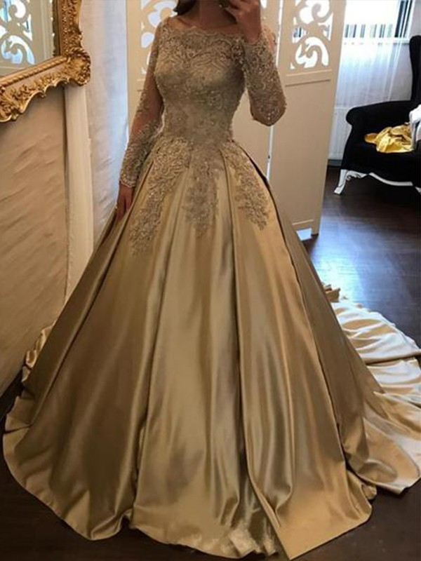 Ball Gown Off-the-Shoulder Sweep/Brush Train Applique Satin Dresses