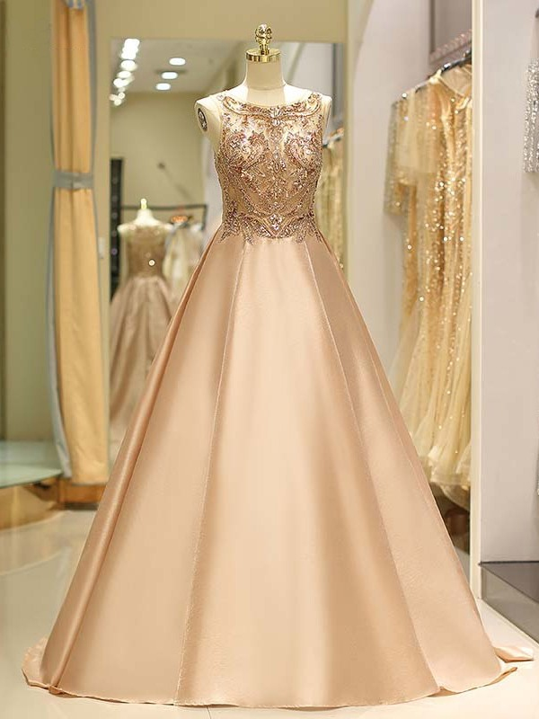 Ball Gown Bateau Sweep/Brush Train Beading Satin Dresses