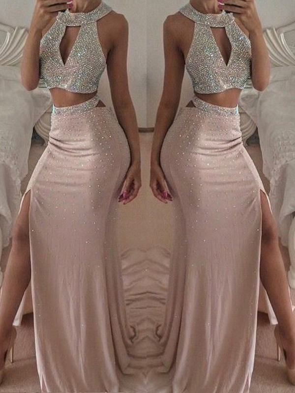 Trumpet/Mermaid Halter Floor-Length Beading Chiffon Dresses