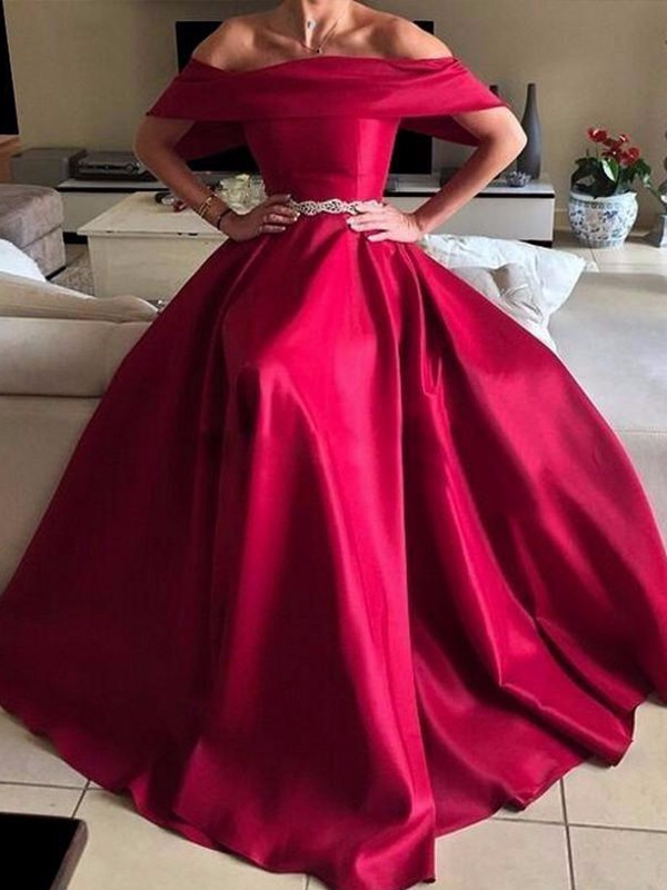 A-Line/Princess Off-the-Shoulder Floor-Length Sash/Ribbon/Belt Satin Dresses