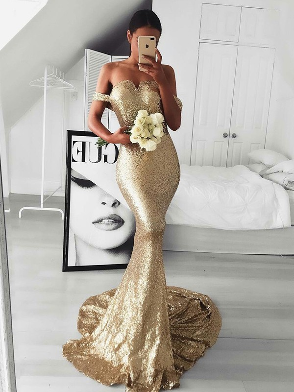 Trumpet/Mermaid Off-the-Shoulder Sweep/Brush Train Ruffles Sequins Dresses