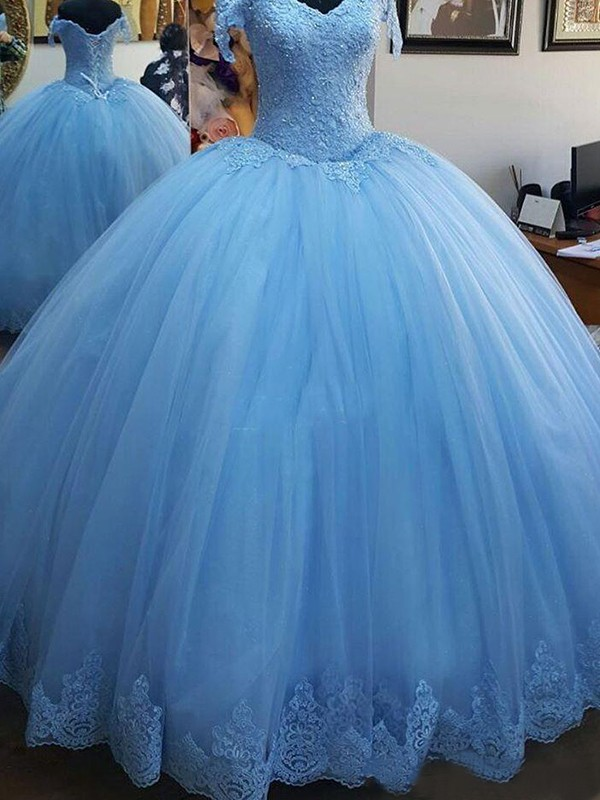 Ball Gown Off-the-Shoulder Sweep/Brush Train Lace Tulle Dresses