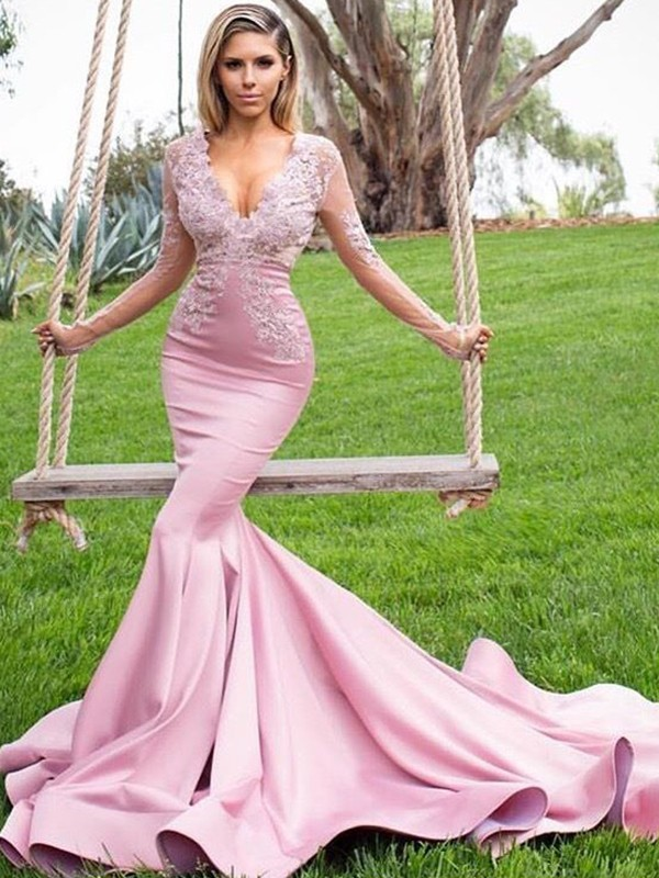 Trumpet/Mermaid V-neck Sweep/Brush Train Applique Satin Dresses