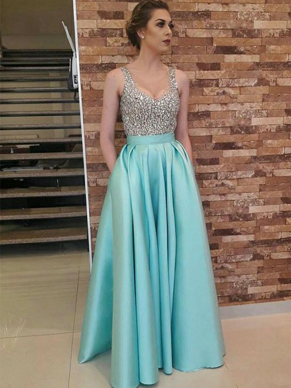 A-Line/Princess V-neck Floor-Length Beading Satin Dresses