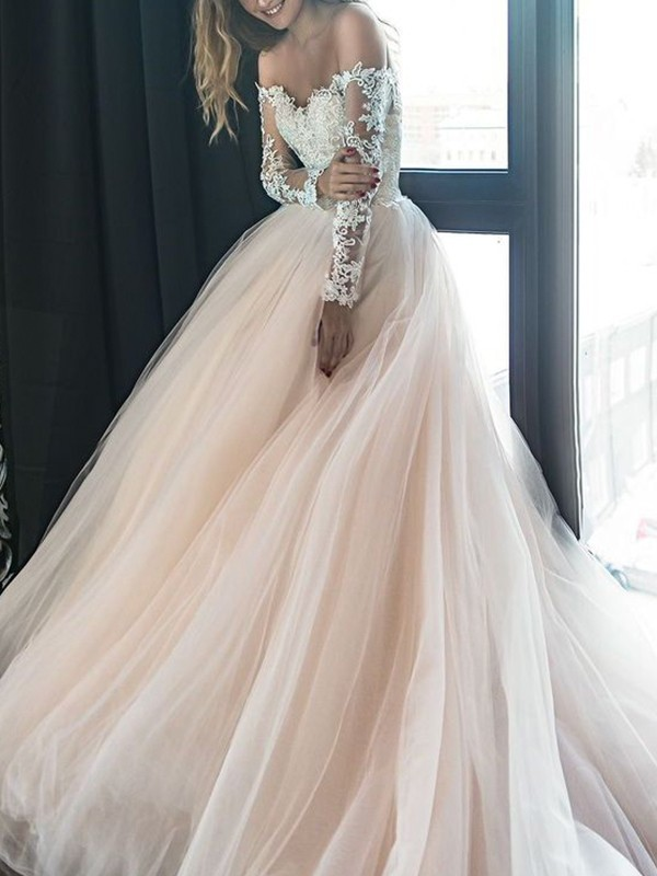 A-Line/Princess Off-the-Shoulder Long Sleeves Court Train Tulle Wedding Dresses