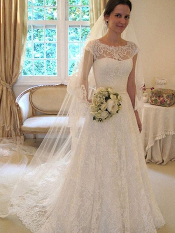 A-Line/Princess Scoop Sleeveless Sweep/Brush Train Tulle Wedding Dresses