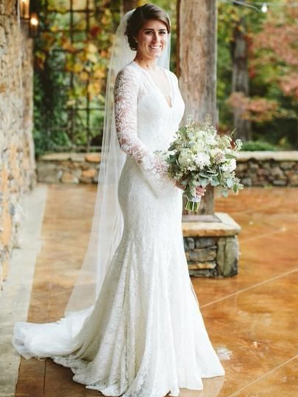 Trumpet/Mermaid V-neck Long Sleeves Sweep/Brush Train Lace Wedding Dresses