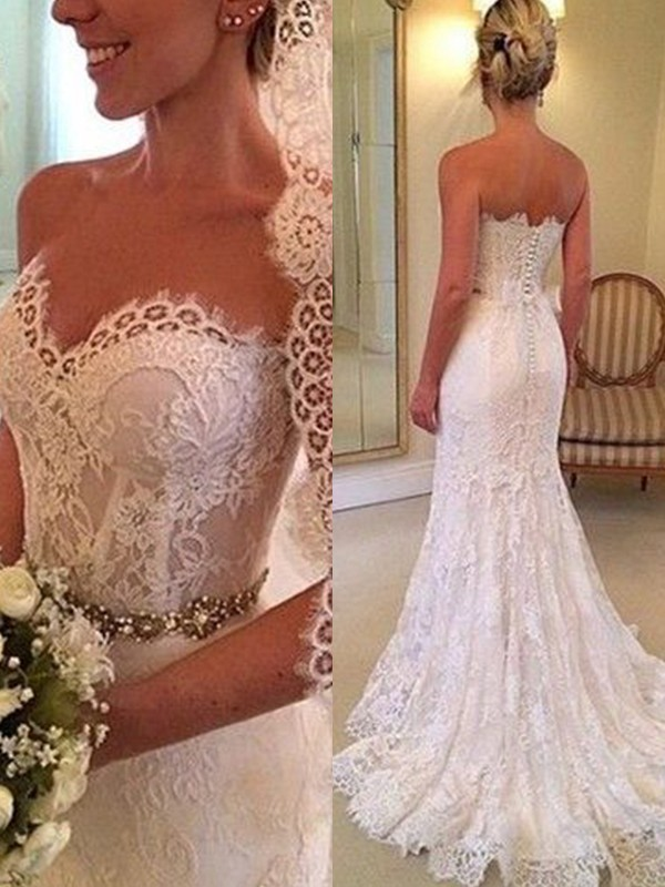Sheath/Column Sweetheart Sleeveless Sweep/Brush Train Lace Wedding Dresses