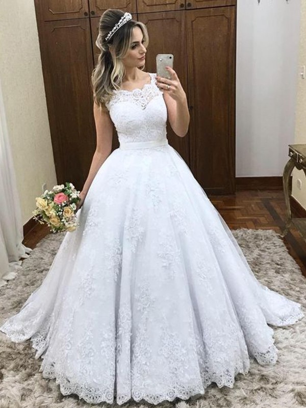 Ball Gown Scoop Sleeveless Sweep/Brush Train Satin Wedding Dresses