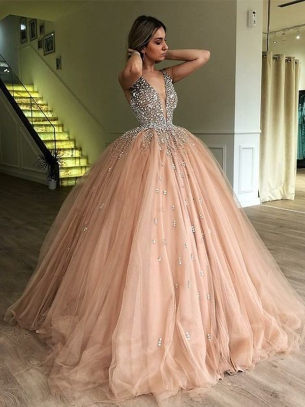 Ball Gown V-neck Sleeveless Floor-Length Tulle Dresses