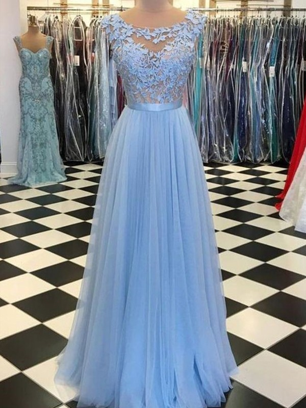 A-Line/Princess Scoop Sleeveless Floor-Length Tulle Dresses