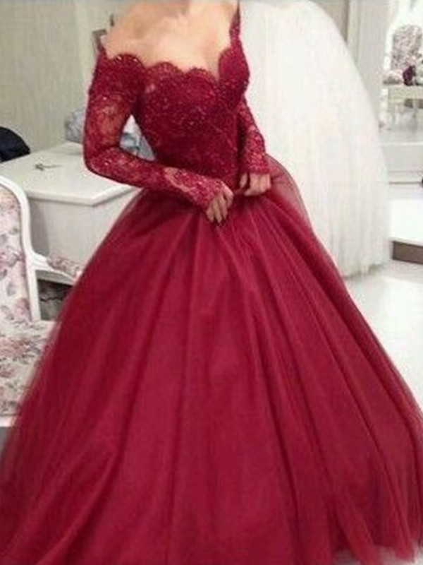 Ball Gown V-neck Long Sleeves Floor-Length Tulle Dresses