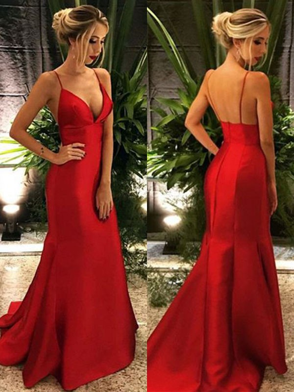 Trumpet/Mermaid Spaghetti Straps Sleeveless Sweep/Brush Train Satin Dresses