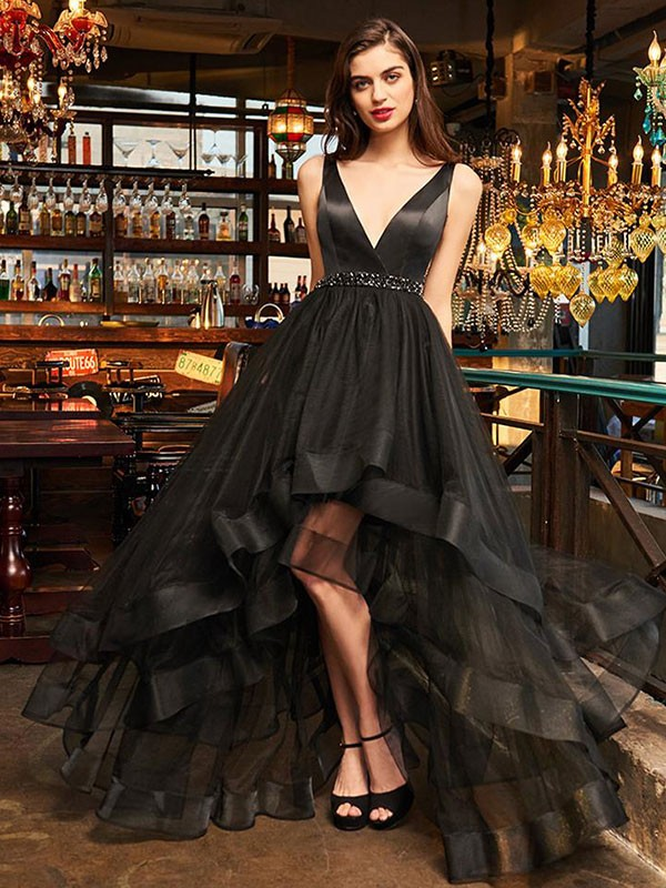 A-Line/Princess V-neck Sleeveless Asymmetrical Organza Dresses