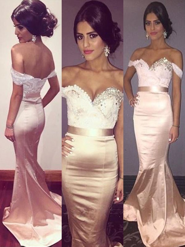 Trumpet/Mermaid Off-the-Shoulder Sleeveless Sweep/Brush Train Silk like Satin Dresses