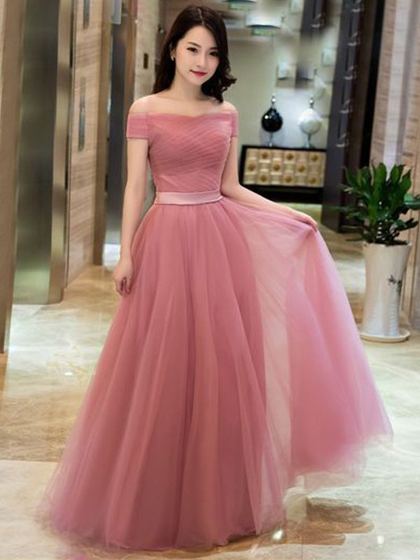 A-Line/Princess Off-the-Shoulder Sleeveless Floor-Length Tulle Dresses