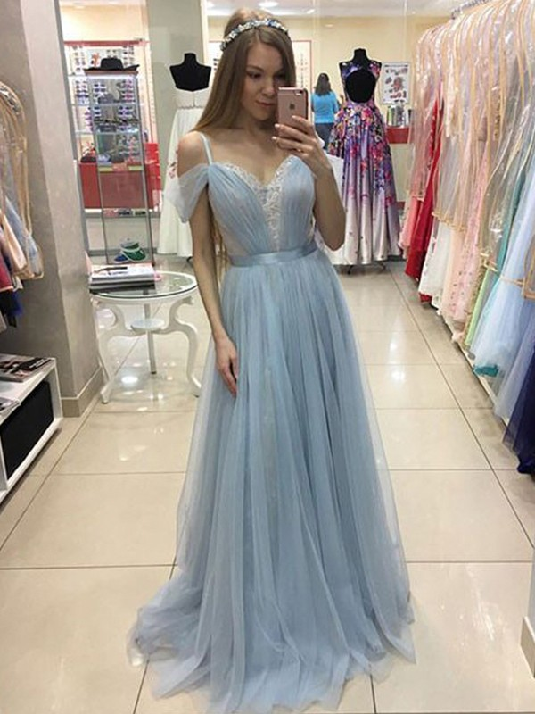 A-Line/Princess Spaghetti Straps Sleeveless Sweep/Brush Train Tulle Dresses