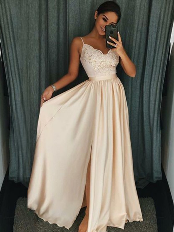 A-Line/Princess Spaghetti Straps Sleeveless Floor-Length Silk like Satin Dresses