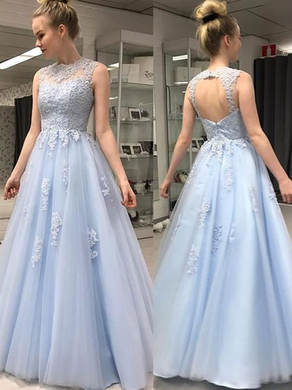 A-Line/Princess Sheer Neck Floor-Length Applique Tulle Dresses