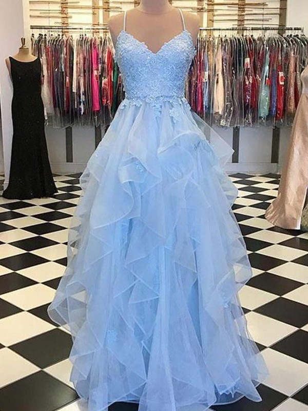 A-Line/Princess Spaghetti Straps Floor-Length Applique Organza Dresses