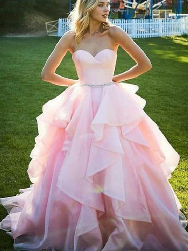 Ball Gown Sweetheart Floor-Length Beading Organza Dresses