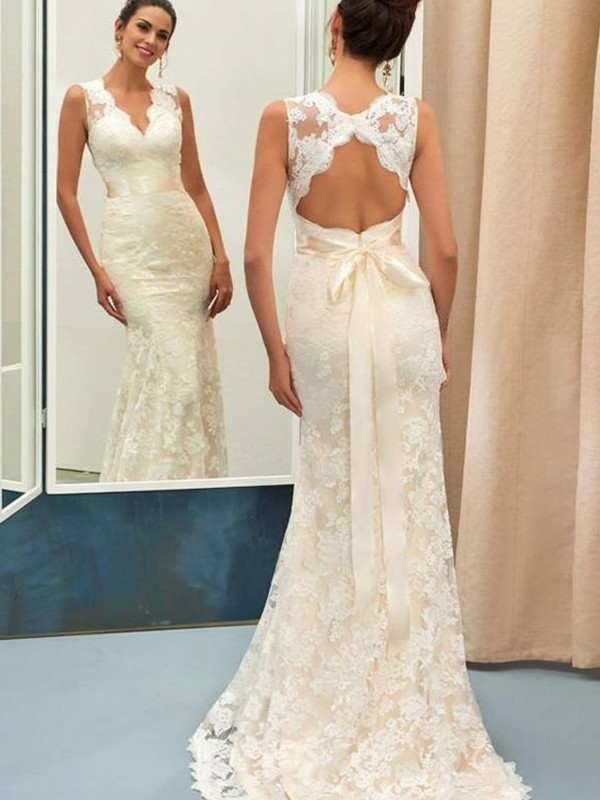 Trumpet/Mermaid V-neck Sweep/Brush Train Sash/Ribbon/Belt Lace Wedding Dresses
