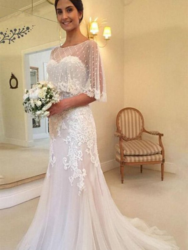 Sheath/Column Sweetheart Sweep/Brush Train Applique Tulle Wedding Dresses