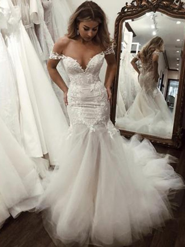 Trumpet/Mermaid Off-the-Shoulder Sweep/Brush Train Applique Tulle Wedding Dresses