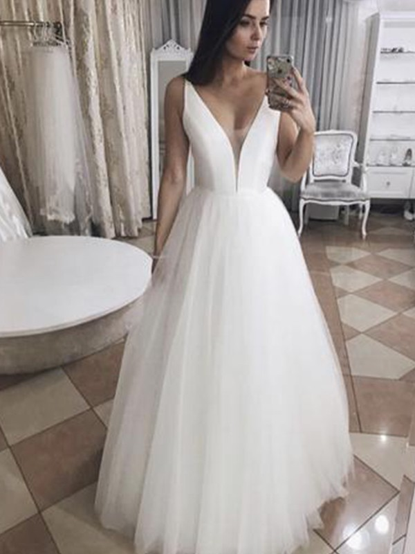 A-Line/Princess V-neck Floor-Length Ruffles Tulle Wedding Dresses
