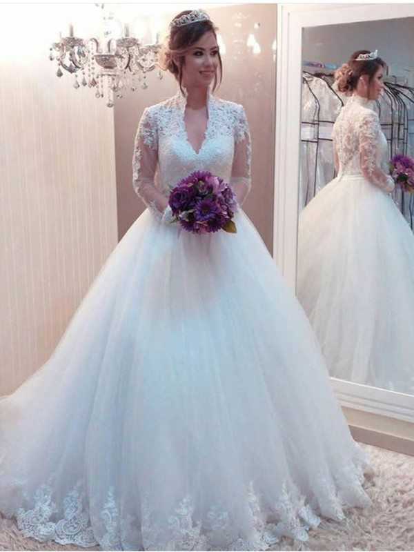 Ball Gown High Neck Sweep/Brush Train Applique Tulle Wedding Dresses