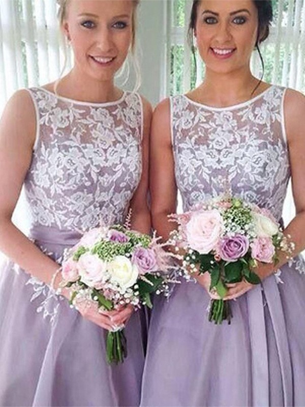 A-Line/Princess Sheer Neck Knee-Length Applique Organza Bridesmaid Dresses