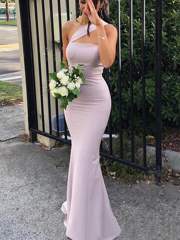 Sheath/Column One-Shoulder Floor-Length Spandex Bridesmaid Dresses