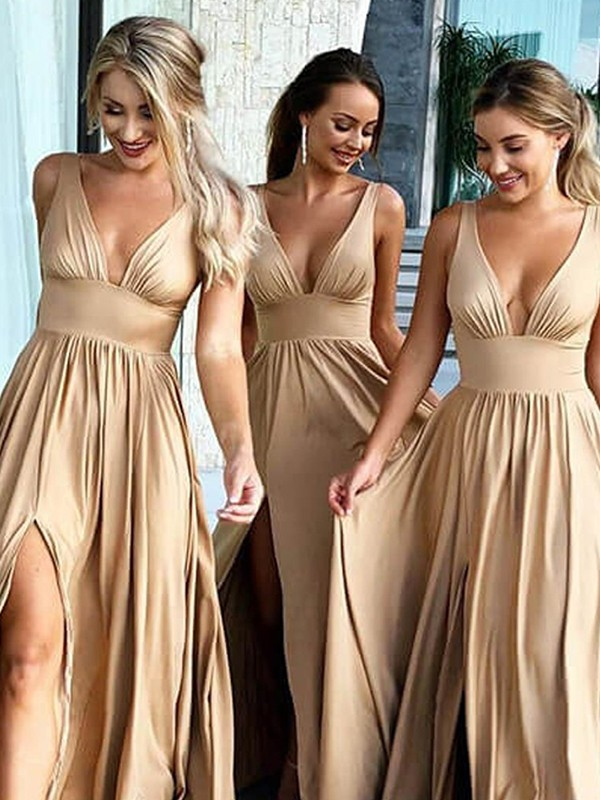 A-Line/Princess V-neck Sweep/Brush Train Ruffles Silk like Satin Bridesmaid Dresses