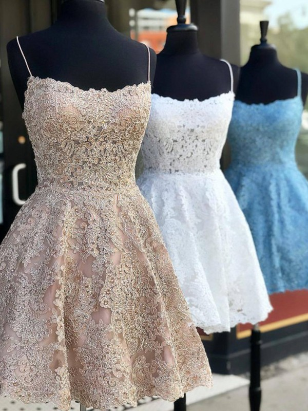 A-Line/Princess Spaghetti Straps Short/Mini Applique Lace Dresses