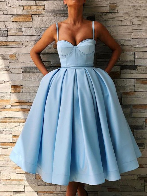 Ball Gown Spaghetti Straps Tea-Length Ruffles Satin Dresses
