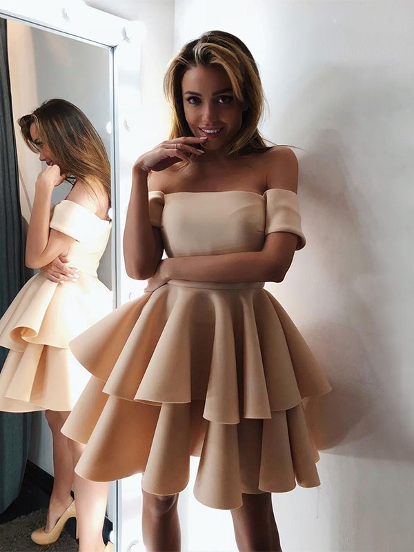 A-Line/Princess Off-the-Shoulder Short/Mini Layers Satin Dresses