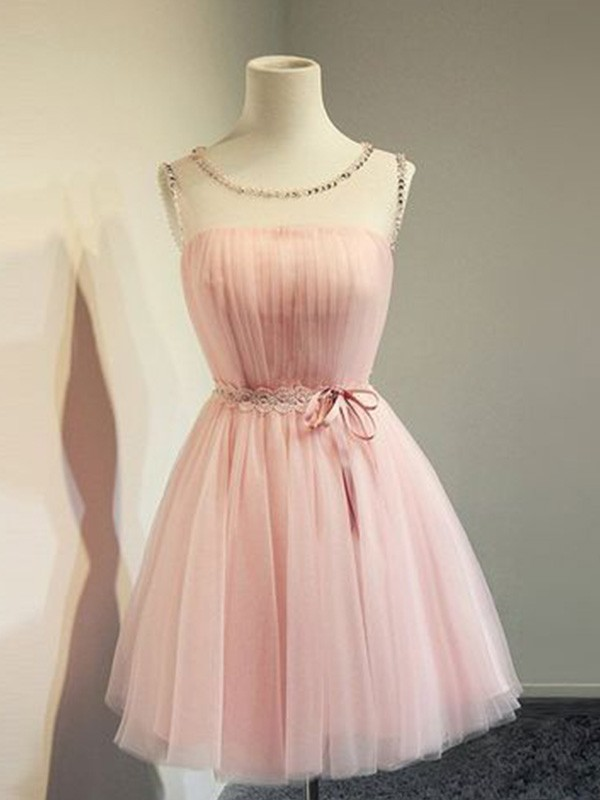 A-Line/Princess Scoop Short/Mini Beading Tulle Dresses