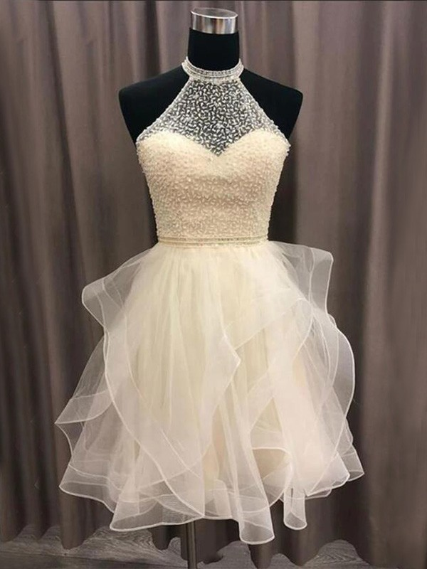 A-Line/Princess Halter Short/Mini Beading Organza Dresses