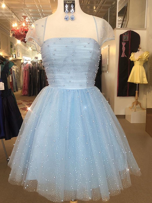 A-Line/Princess Strapless Short/Mini Beading Tulle Dresses