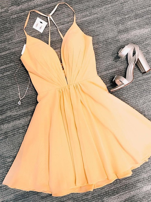 A-Line/Princess V-neck Short/Mini Ruffles Chiffon Dresses