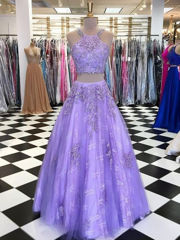 A-Line/Princess Halter Floor-Length Beading Tulle Dresses