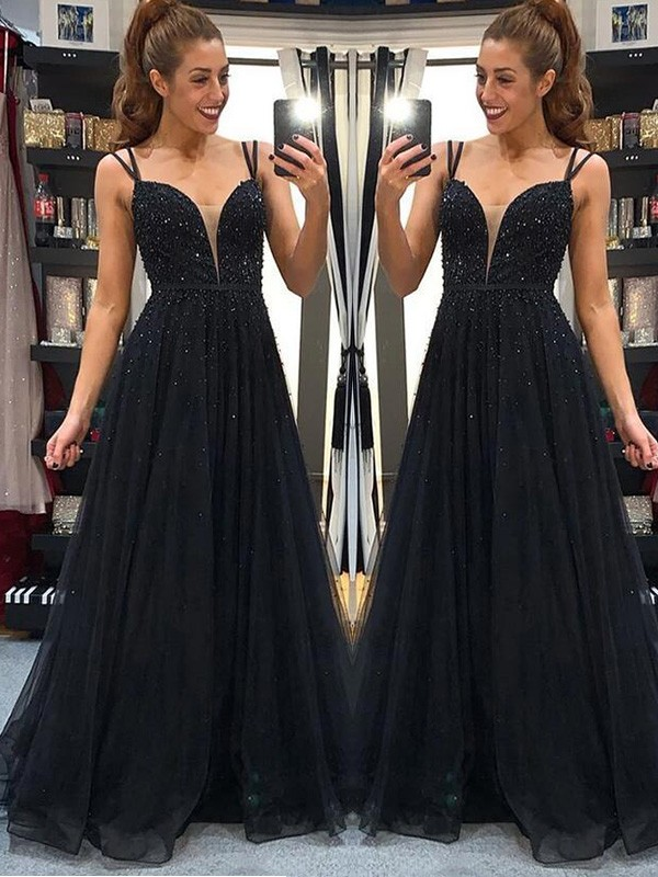 A-Line/Princess Spaghetti Straps Floor-Length Beading Tulle Dresses