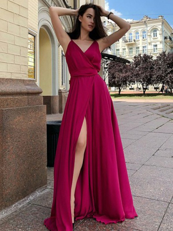 A-Line/Princess Spaghetti Straps Sweep/Brush Train Ruffles Satin Chiffon Dresses