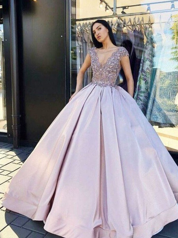 Ball Gown V-neck Floor-Length Beading Satin Dresses
