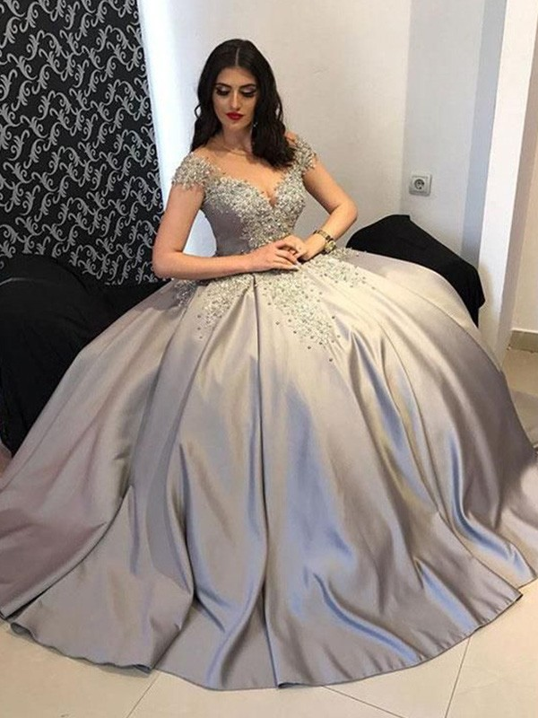 Ball Gown Off-the-Shoulder Sweep/Brush Train Beading Satin Dresses