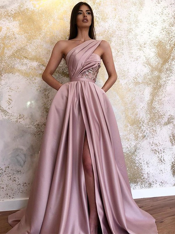 A-Line/Princess One-Shoulder Sweep/Brush Train Ruched Satin Dresses