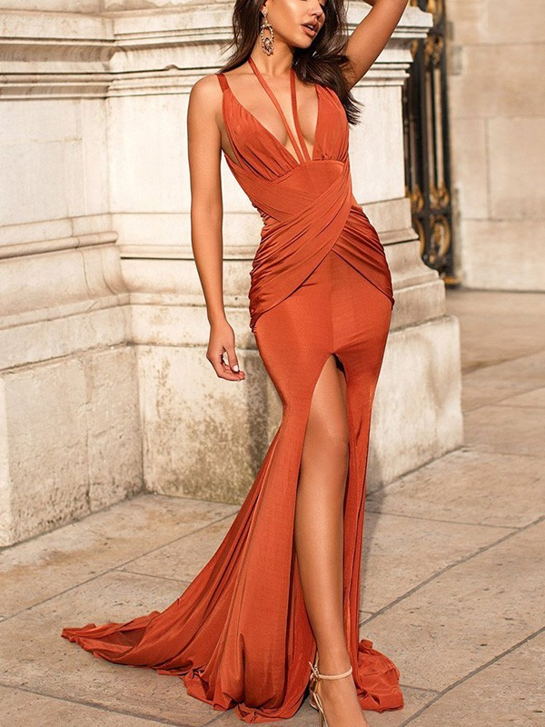 Trumpet/Mermaid V-neck Sweep/Brush Train Ruched Satin Dresses