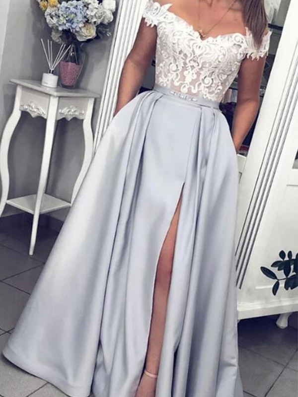 A-Line/Princess Off-the-Shoulder Floor-Length Lace Satin Dresses